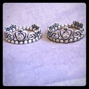 Set of 2 Princess rings from pandora